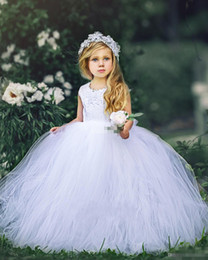 Barato Vestido De Noiva Aberto De Renda Vintage-White Ball Gown Flower Girl Vestidos para Vintage Wedding Jewel Neck Lace Open Back Sash 2017 Cheap Baby Child First Holy Communion Vestidos