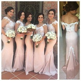 Vestidos De Honor De La Criada China Baratos-Belleza Champagne Off The Shoulder Maid Of Honor Vestidos 2017 Appliqued Satin Mermaid Vestidos de dama de honor de China