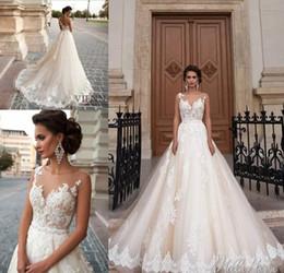 Vintage Arabic Princess Milla Nova A Line Wedding Dresses Lace Turkey Women  Country Western 2018 Pearls Sash Tulle Beach Bridal Gowns e35eb9ccad44