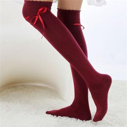 Discount girls knee high socks bows - Wholesale- Feitong Autumn Womens Over the Knee Socks Fashion Girls Sexy Cotton Bow Tie High Socks Thigh High Hosiery Sto