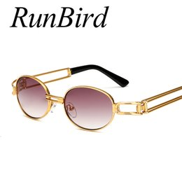wholesale hip hop women sunglasses 2019 - Wholesale- RunBird Hip Hop Small Round Sunglasses Men Vintage Steampunk Sunglasses Women Gold Glasses Frame Eyewear Ocul