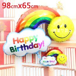 $enCountryForm.capitalKeyWord Canada - 2pcs Foil Balloons Happy Birthday party Decoration Large size Smile Face Rainbow Globos balls