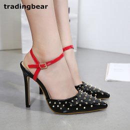 $enCountryForm.capitalKeyWord Canada - Sexy women shoes high heels black patchwork rivets spike studded poinetd toe pumps size 35 to 40