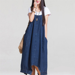 2017 Summer New Europen Femmes Lâche Pure Color Denim Coton Dress Cowboy Long Maxi Robes En Denim avec Poches vintage robe longue
