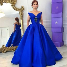 Ligne Sweetheart Floor Length Satin Pas Cher-Elegant Royal Blue Robes de soirée 2017 Unique Sweetheart A Line Cristal Robe de soirée Robes de soiree