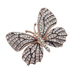 $enCountryForm.capitalKeyWord UK - Women Vintage Butterfly Design Rhinestone Brooch Crystal Pin Jewelry