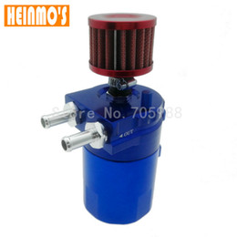 oil catch tanks 2019 - Universal Blue Baffled Aluminum Oil Catch Tank Fittings With Breather Filter Baffled