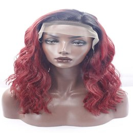 """red black curly hair 2019 - lace front wigs 20"""" Black Mixed Red Curly Fluffy Long Lace Front Hair Wig Heat Resistant African American fashion w"""