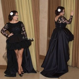 Barato Manga Comprida Vestido De Noite Prom-Black High Low Prom Dresses Arab 2017 de manga comprida Casacos de noiva Formal Evening Dress