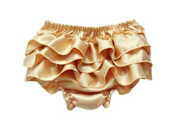 solid infant bloomers UK - Baby Infant Satin Bloomers Girls Boys Baby Pettiskirt Pants Infant petto Lace Briefs Ruffle PP Underpants toddler Girl's bloomer KLX L006