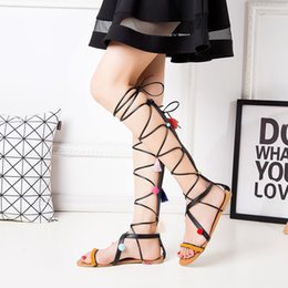 Schuhe Frauen Schuhe Schnelle Lieferung Frauen Sandalen 2019 Sommer Wohnungen Sexy Knie Hohe Stiefel Gladiator Sandalen Mode Designer Hohl Casual Schuh # G2
