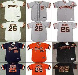 753060eb3 ... Free Shipping Men 25 BARRY BONDS San Francisco Giants 1982 Away  Baseball Jersey Stitched ...