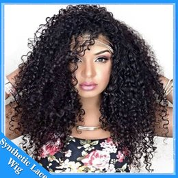 jet black curly wigs UK - High quality perruque swiss lace synthetic wigs heat resistant color #1 jet black afro kinky curly Synthetic Lace Front wigs for black woman