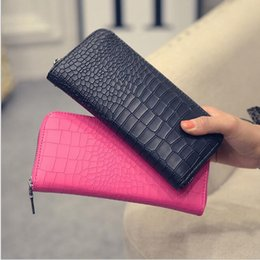Alligators Bon Marché Pas Cher-Cheap Wholesale 2017 New Fashion Alligator Purses Crocodile Leather Purse Female Casual Bag Long Zipper Female Long Wallet