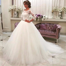 Wholesale dresses three quarter sleeve pink resale online – vestidos de novia Three Quarter Off the Shoulder Wedding Dress Sleeve Boat Neck Ball Gown Pearls Belt Appliques Lace Bridal Gowns