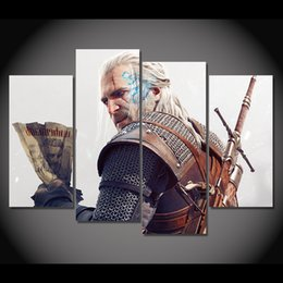 $enCountryForm.capitalKeyWord Canada - 4 Pcs Set Framed HD Printed Game The Witcher 3 Geralt Picture Wall Art Canvas Print Decor Poster Canvas Modern Oil Painting