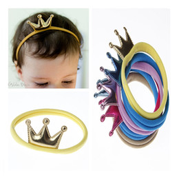 $enCountryForm.capitalKeyWord NZ - Baby Hair Accessories 6 Colors Crown Nylon Headbands for Girls Fashion Princess Elastic Hairbands Infant Toddler Headwear Christmas Gift