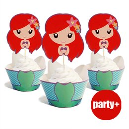 Discount mermaid cupcake toppers - Wholesale-24Pcs (12 wrappers +12 toppers) Mermaid Princess Series Cupcake Wrappers &Toppers Birthday Party Decorations S