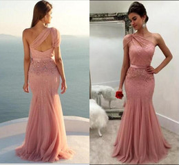 China One Shoulder Blush Pink Mermaid Formal Prom Dresses Sparkly Sequins Party Dresses Open Back Evening Gowns cheap black lace mermaid ball gown suppliers