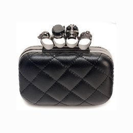 Wholesale-Fashion Woman Leather Evening Clutch Hand Bags Creepy Skull Rings Handbag Halloween Party Chain Shoulder Bag Plaid Purse XA219H on Sale