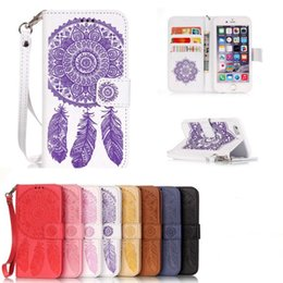 $enCountryForm.capitalKeyWord NZ - Wind Chimes Pattern PU Leather Case with Magnetic Card Slot Holder Wrist Strap for Iphone 6 7 plus 8 x Xsmax Samsung S8 S9 Note 9