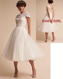 $enCountryForm.capitalKeyWord Canada - Custom made jewel cap sleeve tea length tiers skirts back zipper lace dress A Line Wedding Dresses