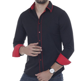 Double Shirt Designs Australia - 2017 New Mens Long Sleeved Dress Shirts Double Collar Button Unique Design Slim Fit Brand Shirts Male Shirts YEE4432