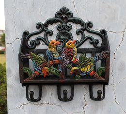 $enCountryForm.capitalKeyWord NZ - Antique Victorian Cast Iron Painted Birds Letter Rack Wall Shelf Wall Mounted Mail Key Rack 3 Hooks Letter Bill Newspaper Holder Organizer