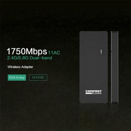 Comfast Wifi Usb Adapter Canada - Wholesale- Gigabit Wireless wifi adapter 1750mbps 11AC 802.11ac dual band usb 3.0 port wireless network card portable wifi COMFAST CF-917AC