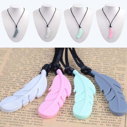 necklaces pendants NZ - New arrived Fashionable Food Silicone Feather Beads Silicone Feather Teether Necklace With Strap DIY jewelry Pendant