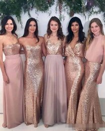 Red Mixed Bridesmaid Dresses NZ - Custom Mix-and-Match Blush Pink Chiffon Bridesmaid Dresses with Rose Gold Sequined Fabric Floor Length Mixture Styles Country Party Gowns