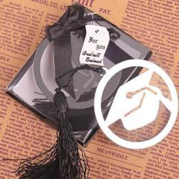 Graduation Cap Métal Signet Avec Élégant Noir Gland Partie Souvenirs Diplômé Parti Faovr Cadeaux Pour Invité en Solde