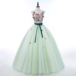Barato Teens Menta Vestido Verde-Mint Green Ball Gown Prom Dresses Cheap 2017 New Quinceanera Dresses Sweet 16 Teens Birthday Party Dress 2018 Masquerade Ball Gowns