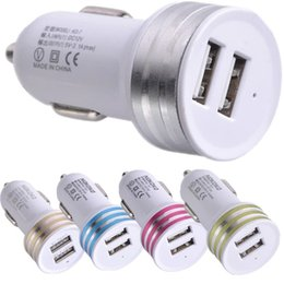 lg gps NZ - Car Chargers 100pcs Dual usb ports Car charger adapter for iphone 4 5 6 6s 7 plus for htc lg gps mp3 smartphone