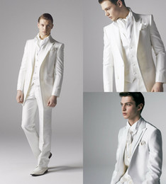 Barato Ternos Para Homens Groom White-Smart X Long White Groom Tuxedos Groomsmen Custom Made Two Pieces Slim Fit Melhor terno do homem Casal / ternos masculinos Noiva (jaqueta + calças)