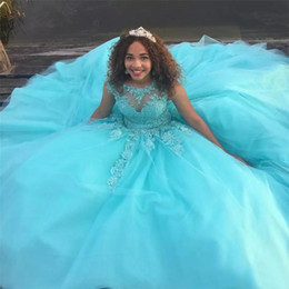 Robe De Soirée Pas Cher-Sky Blue Pageant Robes Jewek Sheer Neck avec dentelle Applique Robes formelles de fête Retour Lace-Up Tiered Custom Made Evening Gown Beautiful 2017