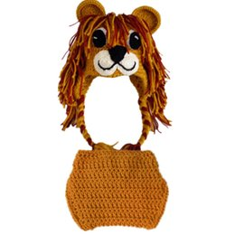 crochet hats spring summer UK - Newborn Knit Lion Costume,Handmade Crochet Baby Boy Girl Lion Animal Hat and Diaper Cover Set,Infant Toddler Halloween Costume Photo Prop