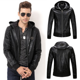 Wholesale Hooded Leather Coat Men 2019 Neue Slim Fit Kapuze Biker Lederjacke Tops Man 78 Metal Patch