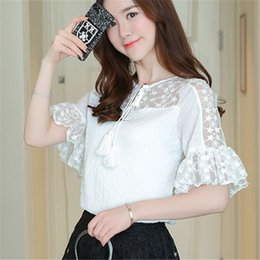 $enCountryForm.capitalKeyWord Canada - Women Summer Lace Shirt New Fashion Short Butterfly sleeve Hollow Out Ladies Chiffon Blouses Shirt Female Elegant Plus size Tops