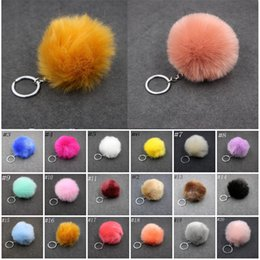 white gold rabbit pendants Australia - Lovely Fluffy Rabbit Ear Fur Ball Key Chain Rings Pendant Cute Pompom Faux Rabbit Fur Keychain Women Car Bag Key Ring C95Q