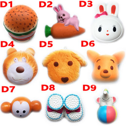 Wholesale New Squishy Toy hamburger rabbit dog bear squishies Slow Rising cm cm cm cm Soft Squeeze Cute Strap gift Stress children toys D10