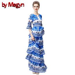 a09fc48f985 by Megyn Women Runway Dress Flare-Sleeve Chinese Traditonal Green Flower  Porcelain Printing Women Ruffle Pleated Dress 15052