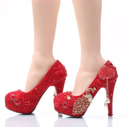 Big Red Pearl Canada - Big Size Wedding Shoes Phoenix and Red Pearl High Heel Prom Shoes Gorgeous Bridal Dress Shoes Adult Ceremony Pumps Size 45