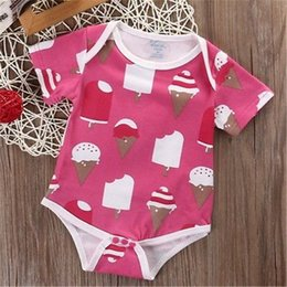 Barato Grossista-Mikrdoo Algodão Newborn Baby Romper Kids Girls manga curta Summer Ice Cream Jumpsuit Bodysuit Pink Playsuit Outfits Doce Clothes Wholesale