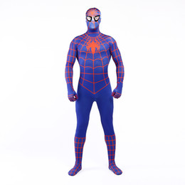 $enCountryForm.capitalKeyWord UK - Brand New 2017 Blue and Orange Lycra Spandex Full Body Jumpsuit Classic Superhero Spider-man Cosplay Zentai Suit Costume For Halloween