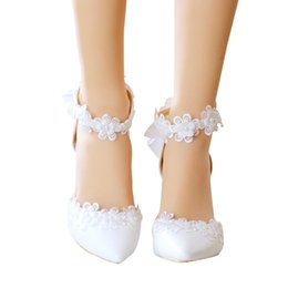 $enCountryForm.capitalKeyWord Canada - New summer sandals lace flower bride shoes bowknot pearl white wedding shoes pointed fine with the party girl