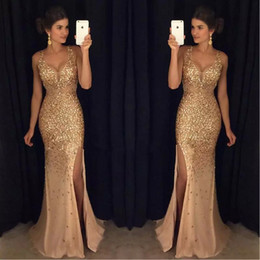 Barato Luxuoso Vestido De Baile De Noite-Mermaid Prom Dresses Cristal de frisado de ouro Straps 2017 Split Side Long Evening Party Vestidos Sexy Luxurious Robes De Soiree Longues
