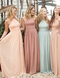 Barato Blush Casamento Damas De Honra-Blush Peach Novos Vestidos de dama de honra A Line Pleats Chiffon Long Junior Vestidos de dama de honra / Maid Of Honor Dresses For Wedding