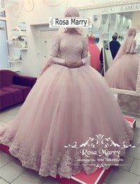 Blush Pink Islamic Ball Gown Wedding Dresses 2018 High Neck Long Sleeves  Vintage Lace Plus Size Turkish Arabic Kaftan Abayas Bridal Gowns 2af78e004228