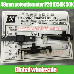 potentiometer joint 2019 - Wholesale- 10pcs 48mm fader potentiometer single joint P201D50K 50K   straight slide fader handle length 4MM cheap poten